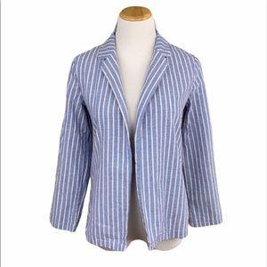SHEIN Blue/White Striped Open Front Blazer